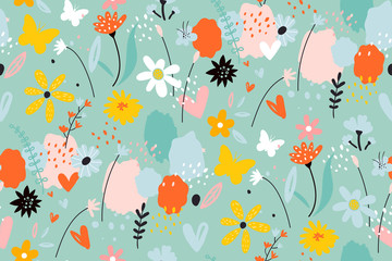 Seamless pattern with flowers, branches, leaves. Creative floral texture. Creative scandinavian kids texture for fabric, wrapping, textile, wallpaper.