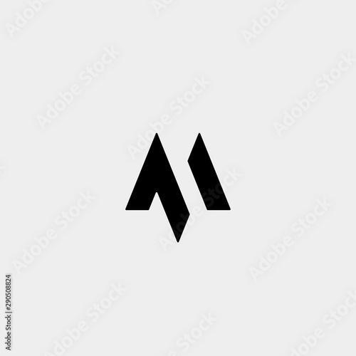 Fotomural Letter M AM MA MM Monogram Logo Design Minimal
