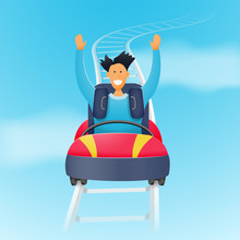 Funny Character Man Rides A Roller Coaster. A Man On A Roller Coaster Ride High Above The Ground. Vector Illustration.