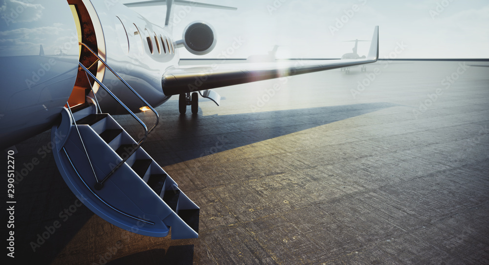 Fototapeta Closeup view of private jet airplane parked at outside and waiting business persons. Luxury tourism and business travel transportation concept. 3d rendering