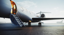 Closeup View Of Private Jet Airplane Parked At Outside And Waiting Business Persons. Luxury Tourism And Business Travel Transportation Concept. 3d Rendering