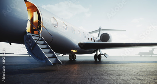 Fotografie, Obraz  Closeup view of private jet airplane parked at outside and waiting business persons