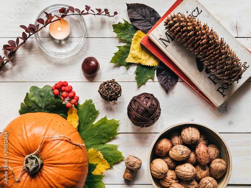 Fototapeta Książka i dynia jesiennie na drewnianym tle obraz