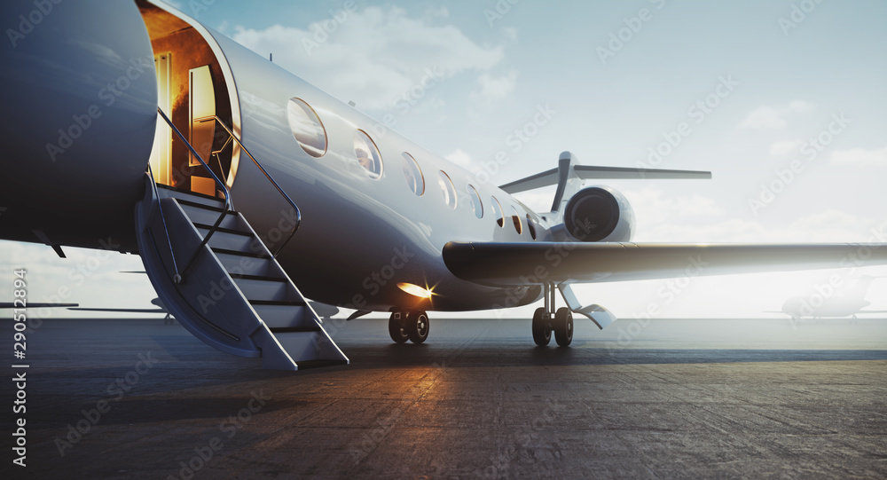 Fototapeta Closeup view of business jet airplane parked at outside and waiting vip persons. Luxury tourism and business travel transportation concept. 3d rendering