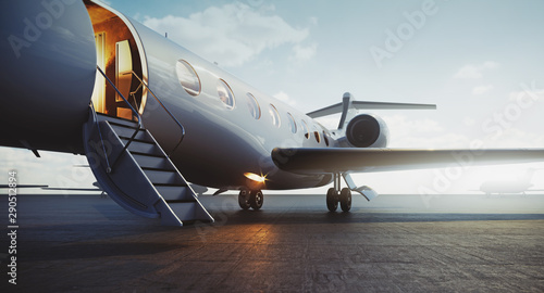 Closeup view of business jet airplane parked at outside and waiting vip persons. Luxury tourism and business travel transportation concept. 3d rendering