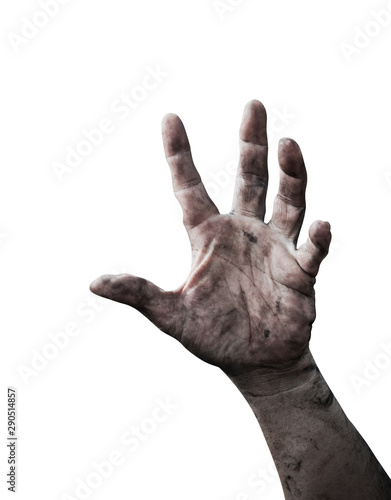 Torture concept: Monster hand isolated on white background Canvas Print
