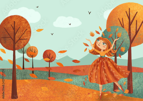 Autumn landscape (card) with fairy girl, leaves, trees. Hand drawn illustration.