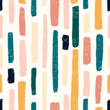 Abstract Seamless Pattern Of Brush Paint Lines Pastel Colors With Old Texture. Vector Doodle Illustration.