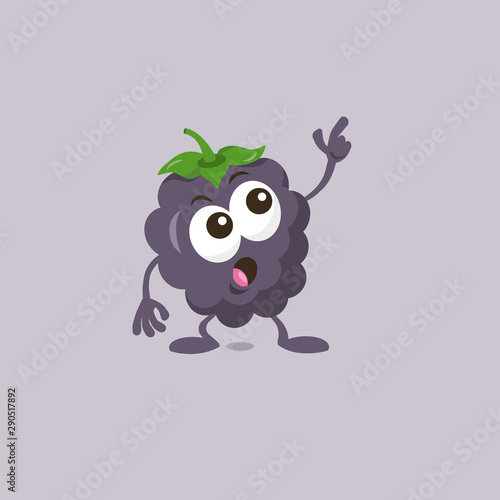 Vászonkép  Illustration of cute staring dewberry mascot isolated on light background