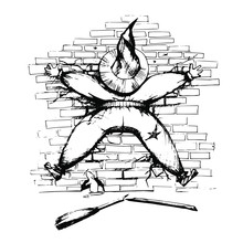 The Witch Crashed Into A Brick Wall, Broken Broom. Funny Halloween Vector Illustration On White Background.
