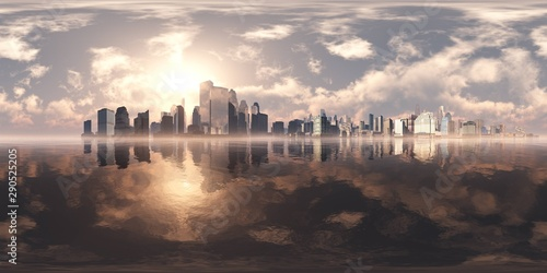 Foto auf Leinwand Rosa dunkel City on the sea. A modern city above the water. Environment map. HDRI . equidistant projection. Spherical panorama. landscape.