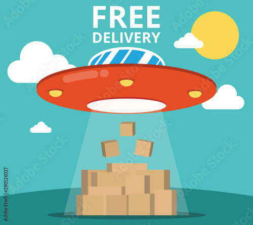 Foto auf AluDibond Cartoon cars Concept of the delivery service. Flat vector illustration UFO and boxes.