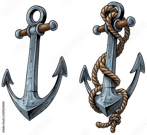 Fotografia Cartoon colorful metal ship anchor with rope