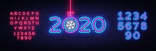 2020 Happy New Year Neon Sign Vector. New Year Neon Poster, Design Template, Modern Trend Design, Night Signboard, Night Bright Advertising, Light Banner, Light Art. Vector. Editing Text Neon Sign