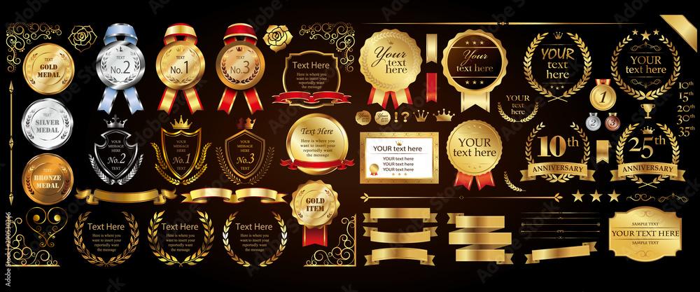 Fototapety, obrazy: Set of golden medal, label, wreath, laurel wreath and award frame set