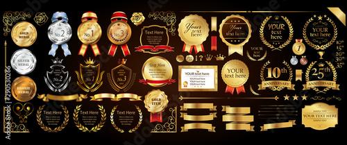 Obraz na plátně  Set of golden medal, label, wreath, laurel wreath and award frame set