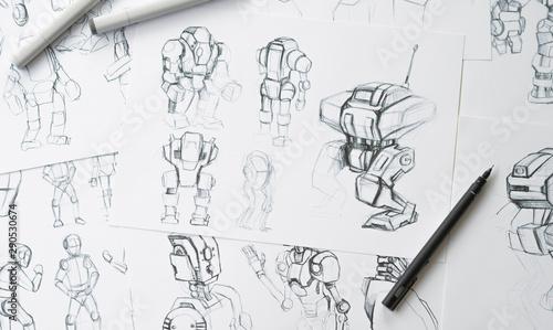 Valokuvatapetti Animator designer Development designing drawing sketching development creating graphic pose characters sci-fi robot Cartoon illustration animation video game film production , animation design studio