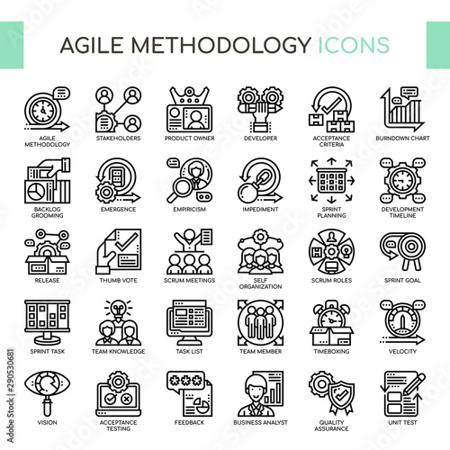 Agile Methodology , Thin Line and Pixel Perfect Icons Canvas Print