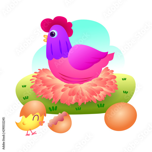 Autocollant pour porte Ferme Beautiful hen hatching eggs, Hen and eggs with little chick.