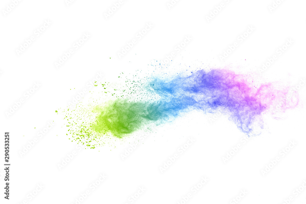 Fototapeta Freeze motion of colorful color powder exploding on white background.  Paint Holi.