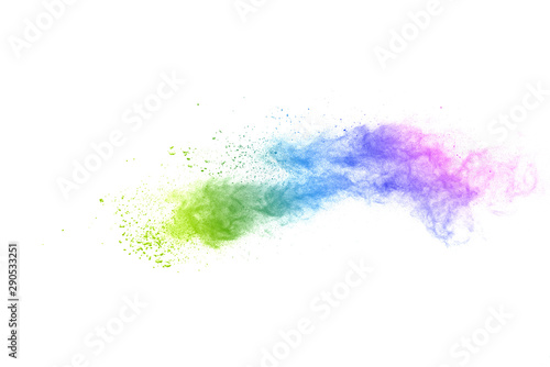 Freeze motion of colorful color powder exploding on white background Wallpaper Mural