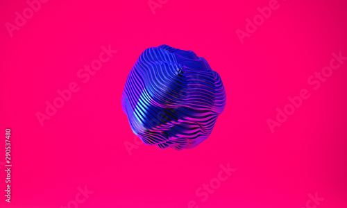 Abstract 3d graphic object on bright magenta background Fototapeta