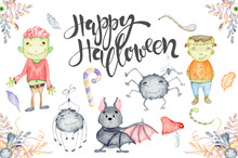 Watercolor Set With Cute Halloween Cartoon Characters