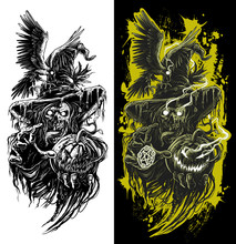 Graphic Detailed Black And White Dark Horror Green Zombie Ghost With Skull Face, Raven, Red Pentargram Star And Angry Halloween Pumpkin. Isolated On White Background. Tattoo Outline. Vector Icon.
