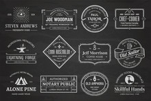 Set Of Vintage Template Chalk Logos 01