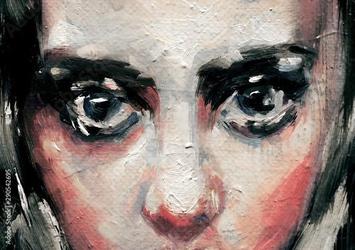 Modern art painting of a beautiful young lady with big blue eyes and black hair, Canvas Print