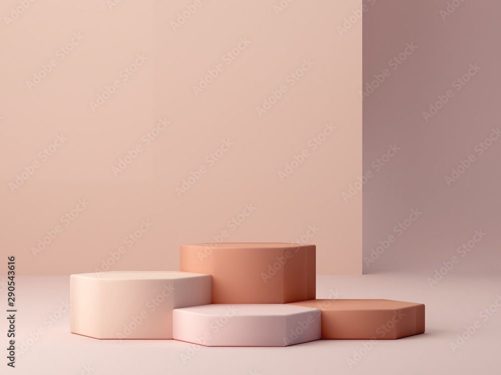 Fototapety, obrazy: Abstract minimal scene with geometrical forms. Cylinder podiums in cream colors. Abstract background. Scene to show cosmetic podructs. Showcase, shopfront, display case. 3d render.