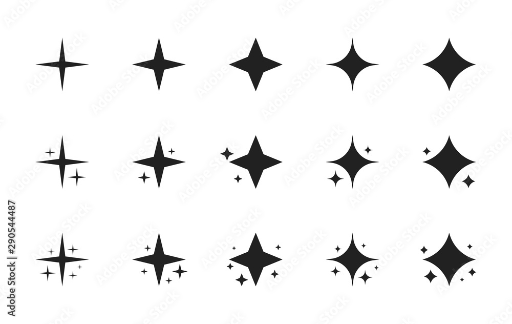 Fototapeta Super set of stars sparkle icon. Bright firework, decoration twinkle, shiny flash. Glowing light effect stars and bursts collection. Modern flat style vector illustration