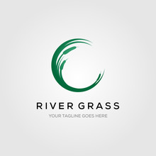 River Grass Green Reed Cattails Letter C Initial Logo Vector Illustration Design