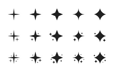 Super set of stars sparkle icon. Bright firework, decoration twinkle, shiny flash. Glowing light effect stars and bursts collection. Modern flat style vector illustration