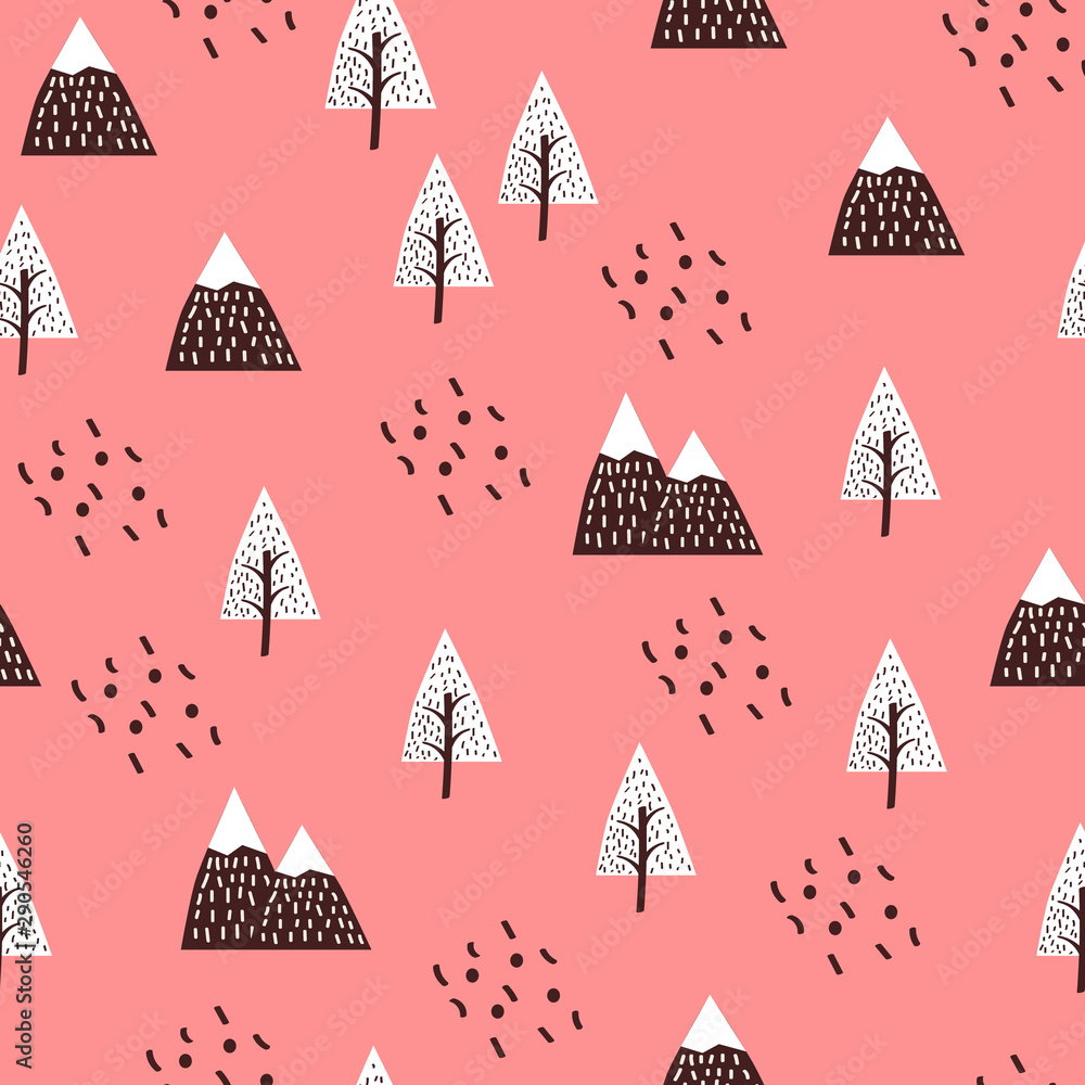 Scandinavian style kids texture for fabric, textile, pyjamas, apparel. Forest, mountains