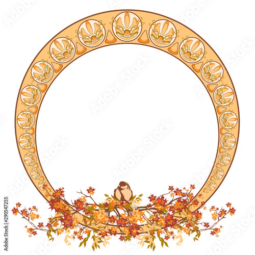 elegant circle art nouveau style design with autumn maple branches and bird - fall season round decorative frame vector Wall mural