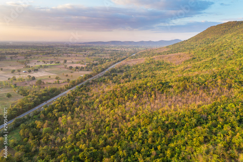 Mountain deep green tree forest nature landscape aerial view