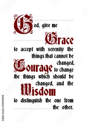 The Serenity prayer poster lettering text Fototapeta