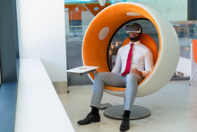 Peaceful Businessman In VR Hea...