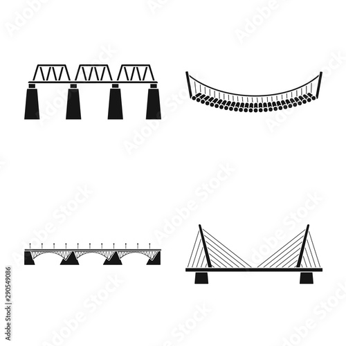 Vector illustration of construct and side sign. Set of construct and bridge vector icon for stock. Fototapete
