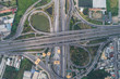 TRansport aerial view of intersection traffic cross road with vehicle movement
