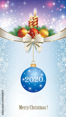2020 Christmas Date Merry Christmas 2020. Christmas design with burning candles and
