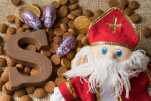 Flat Lay, Candy, Present, Fake Coins, Ginger Nuts With Chocolate Letter, Against White Background, For The Fifth Of December, Event