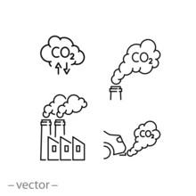 Smoke Icon Set, Air Pollution,...