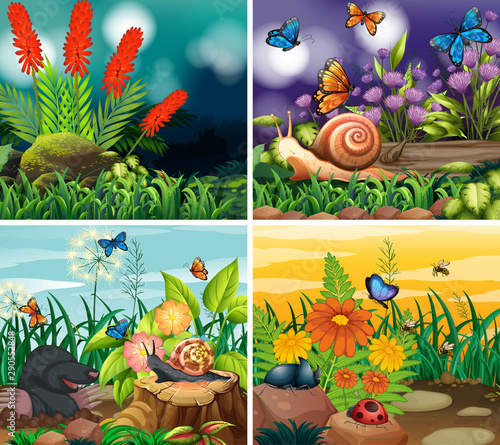 Poster Kids Set of background scene with nature theme