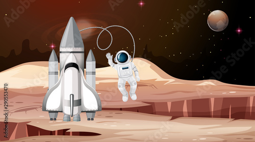 Photo sur Aluminium Jeunes enfants Rocket and astronaut mars scene