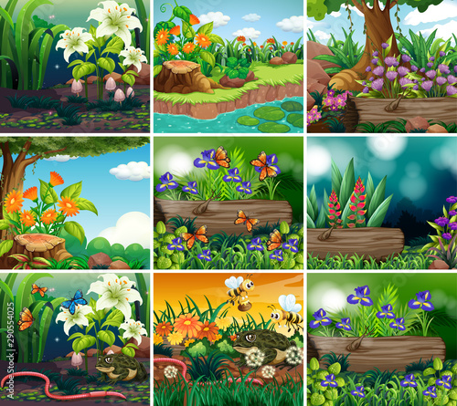 Jeunes enfants Set of background scene with nature theme