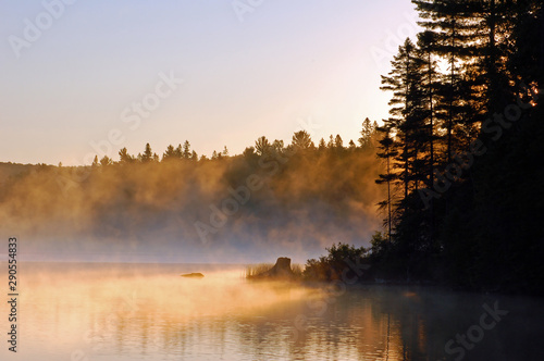Sunrise and mist in beautiful lake in Algonquin Park Wallpaper Mural
