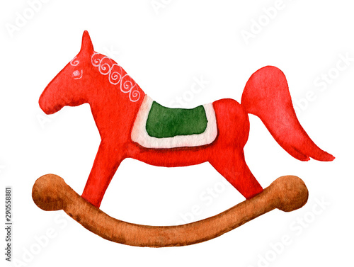 Valokuva Decorative red rocking horse hand drawn in watercolor isolated on a white background