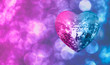 canvas print picture - Heart shape Love symbol with Heart Shaped Disco Ball